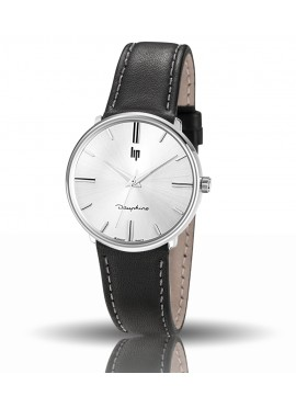 Dauphine 34 mm 671295  bracelet cuir noir cadran blanc