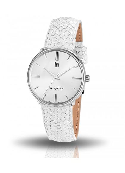 Dauphine 34 mm bracelet façon lézard gris clair