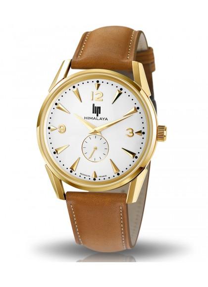 Himalaya 40 mm classic dorée bracelet cuir marron clair
