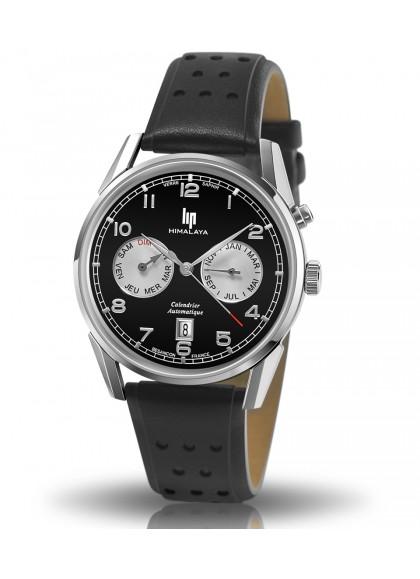 Himalaya 40 mm noir calendrier automatique bracelet cuir perforé noir