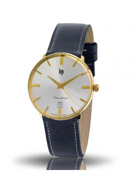 Dauphine 38 mm bracelet bleu cadran doré date à 6 h