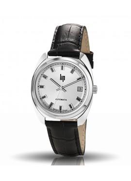 GDG automatique chromé bracelet cuir noir date à 3 h