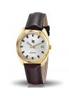 GDG quartz doré bracelet cuir lisse marron date à 3 h