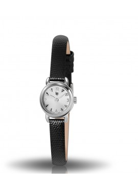Henriette chromée bracelet façon lézard noir