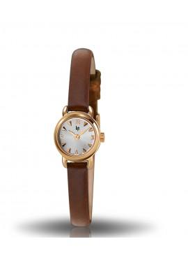 Henriette dorée bracelet cuir lisse marron