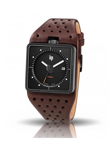 Big TV noire bracelet marron perforé