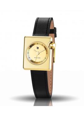 Mach 2000 mini dorée miroir bracelet cuir noir boucle dorée
