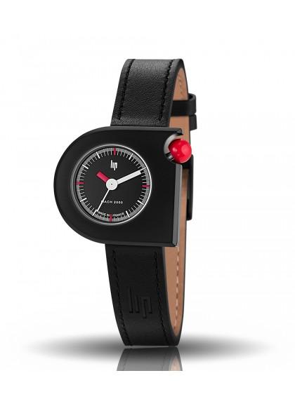 Mach 2000 mini noire aiguille heures rouge aiguilles minutes et trotteuse blanches couronne rouge cuir noir