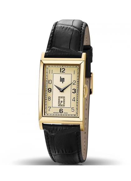 T24 dorée bracelet cuir noir façon croco