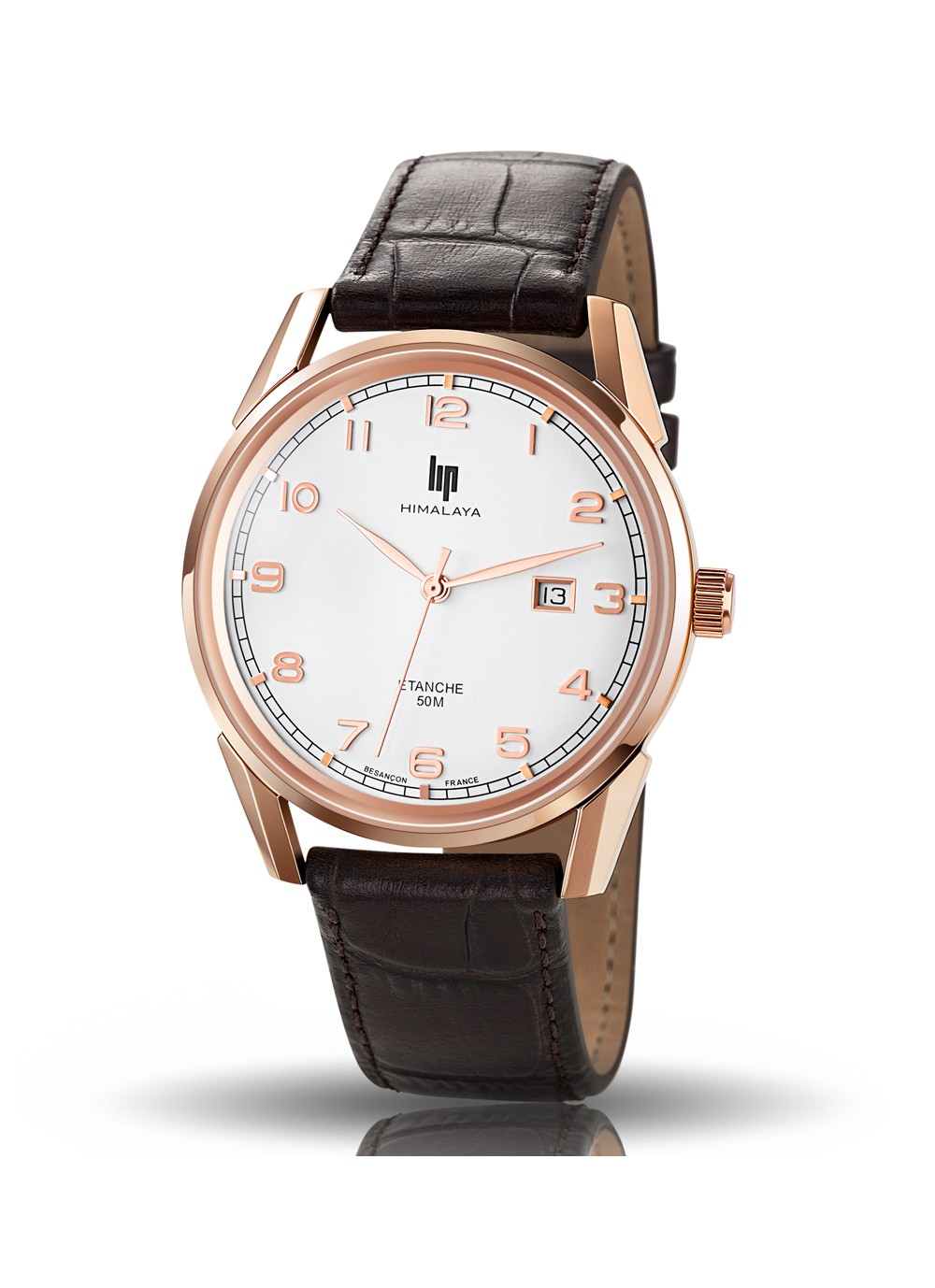 Himalaya 40 mm classic rose gold cuir marron