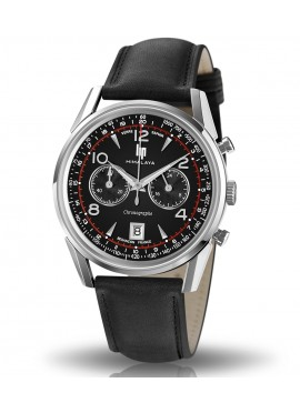 Himalaya 40 mm chronographe cadran noir bracelet cuir noir