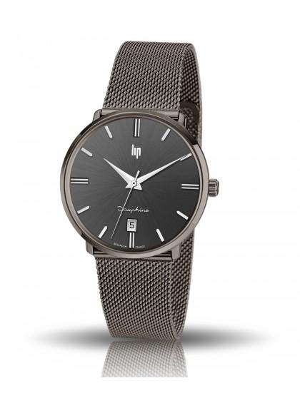 Dauphine 38 mm bracelet mailles milanaises couleur noir et cadran noir