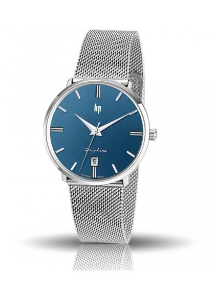 Dauphine 38 mm bracelet mailles milanaises acier et cadran bleu