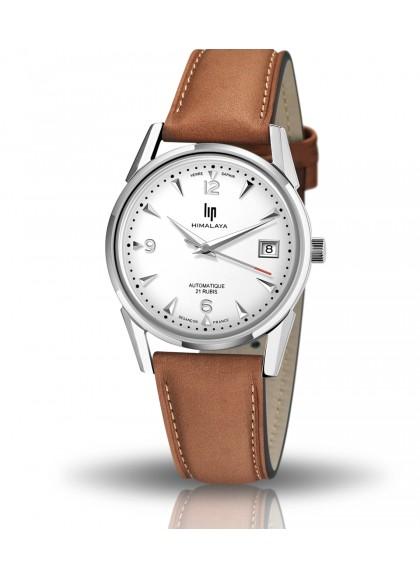 montre lip, himalaya 35 mm, automatique, date, cadran blanc, verre saphir, cuir marron, 671651