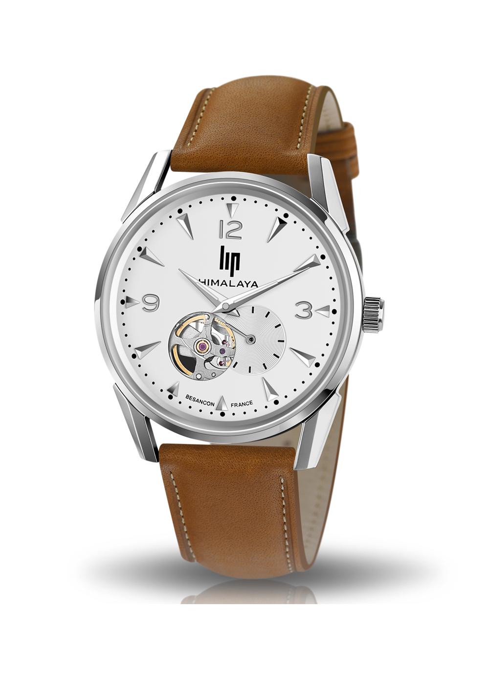 montre Lip, Himalaya 40 mm, cadran blanc, coeur battant, cuir marron, automatique, 671558
