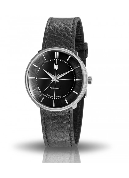 Panoramic, montre Lip, boitier rond acier, cadran noir, quartz, cuir noir, 671063