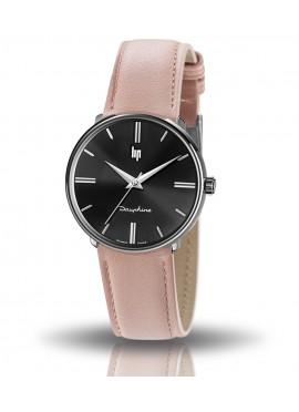 Dauphine 34 mm, montre Lip, boitier rond noir, cadran noir, cuir rose, quartz, 671924