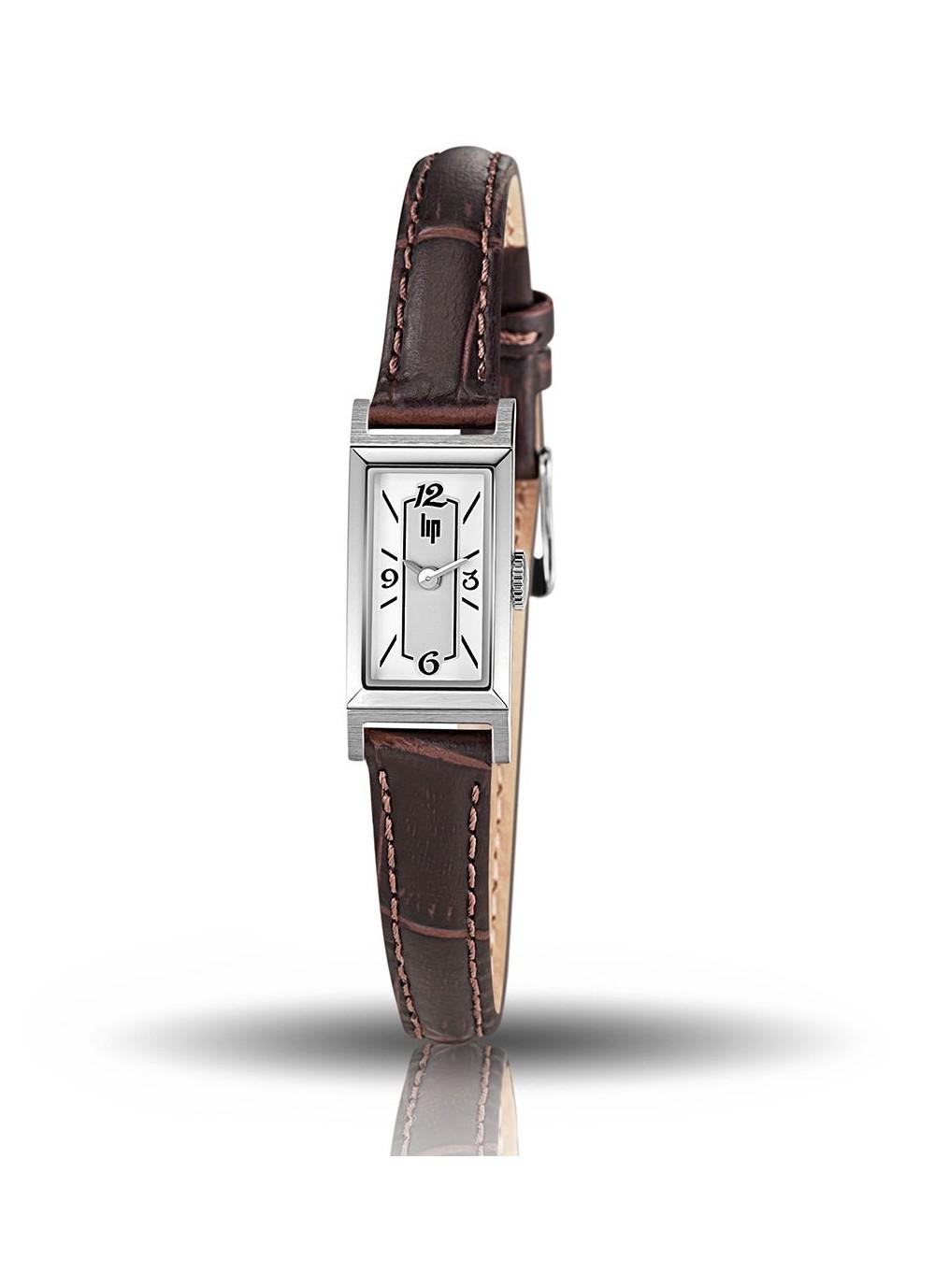 T13, Churchill, boitier acier, cadran gris et blanc, cuir façon croco marron, quartz, 671225