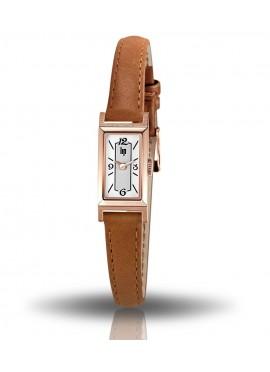 T13, montre lip, boiter rectangulaire rose-doré, cuir camel, cadran gris et blanc, lip, quartz, 671217