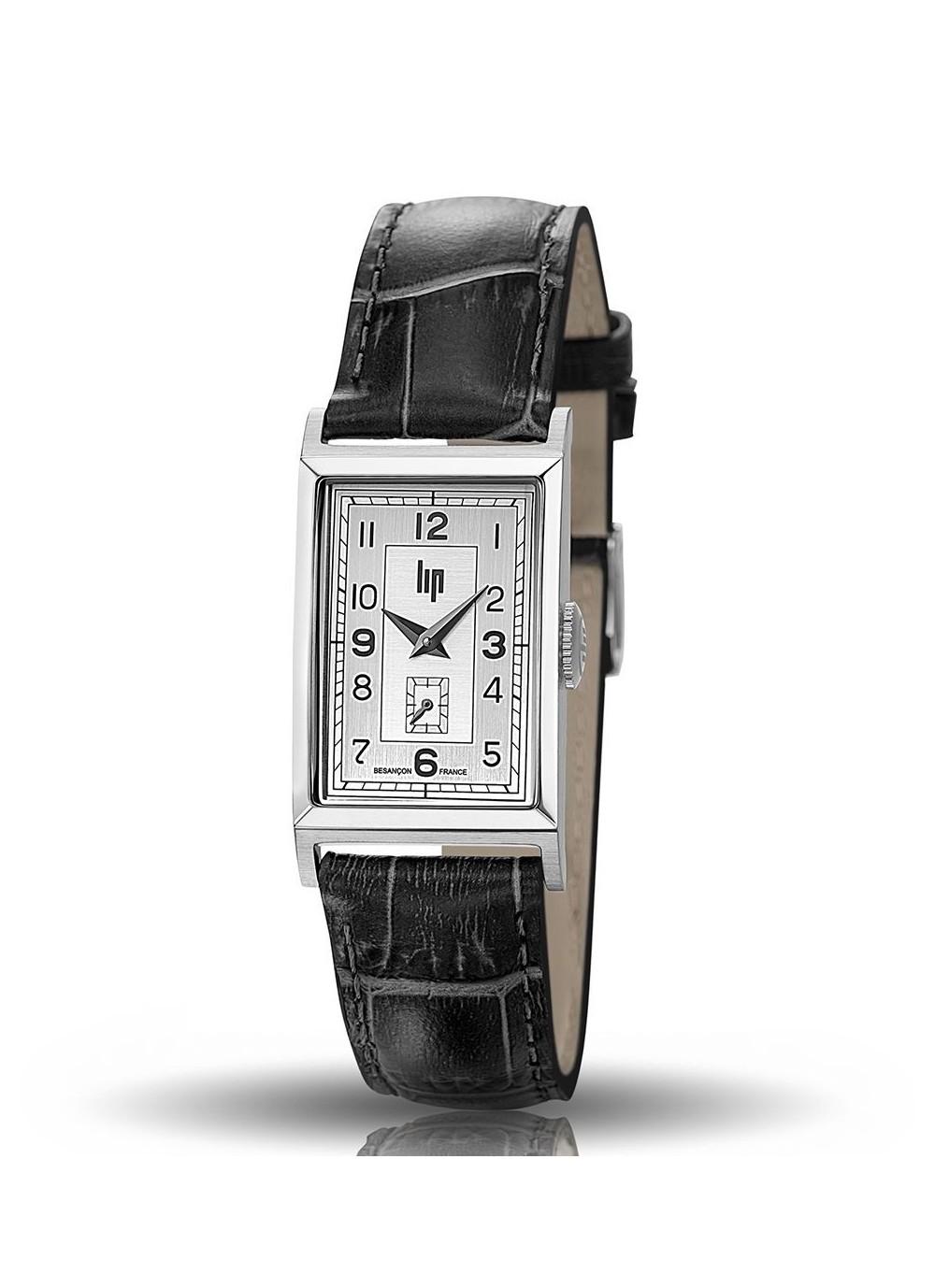 T18, Boitier acier gris, Bracelet cuir noir croco, cadran 2 tons gris blanc, quartz, 671000