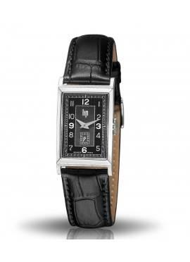 T18, Boitier acier gris, Bracelet cuir noir croco, cadran noir, quartz, 671013
