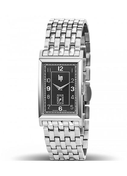 T24, Boitier acier gris, Bracelet métal gris, cadran noir, quartz, 671282