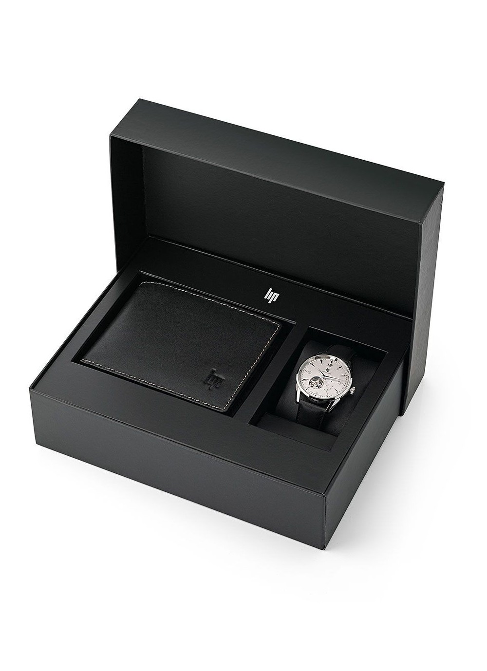 coffret cadeau, montre lip, himalaya, automatique, cuir noir, cadran blanc, portefeuille, 670102