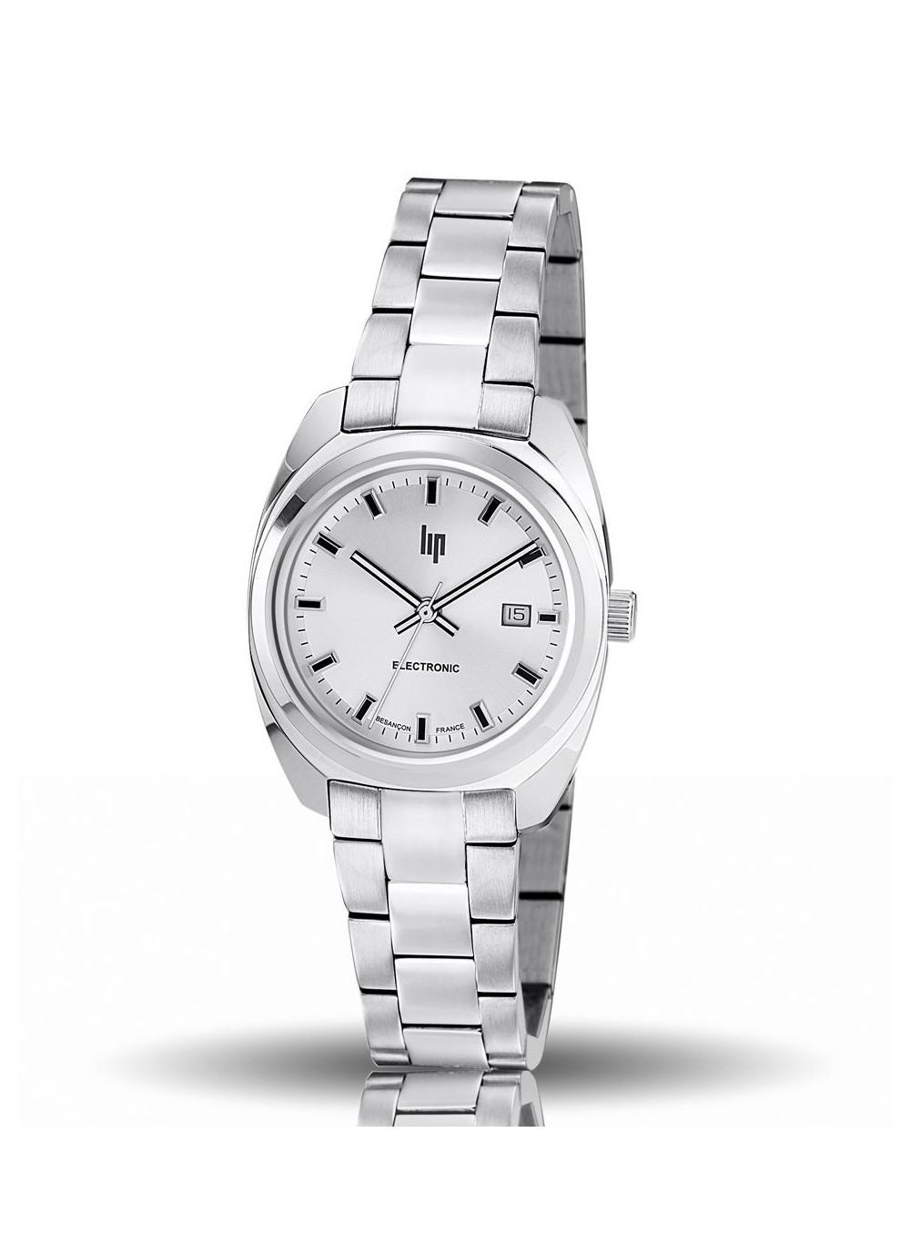 montre lip, général de gaulle, 31 mm, boitier acier gris, bracelet métal, quartz, 671325