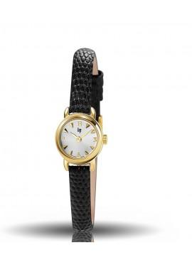 montre henriette, lip, boitier rond acier doré, cuir noir façon lézard, quartz, 671260