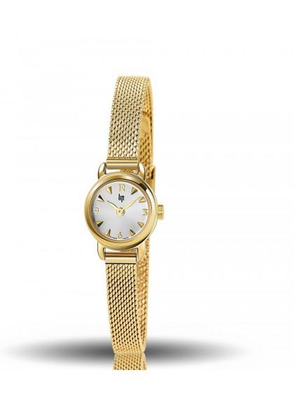montre lip, henriette, boitier rond acier doré, bracelet milanis acier doré, quartz, 671265