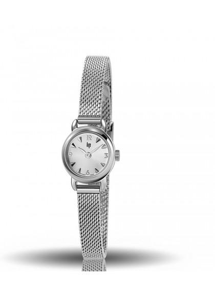 montre lip, henriette, boitier rond acier, bracelet milanais acier gris, quartz, 671267
