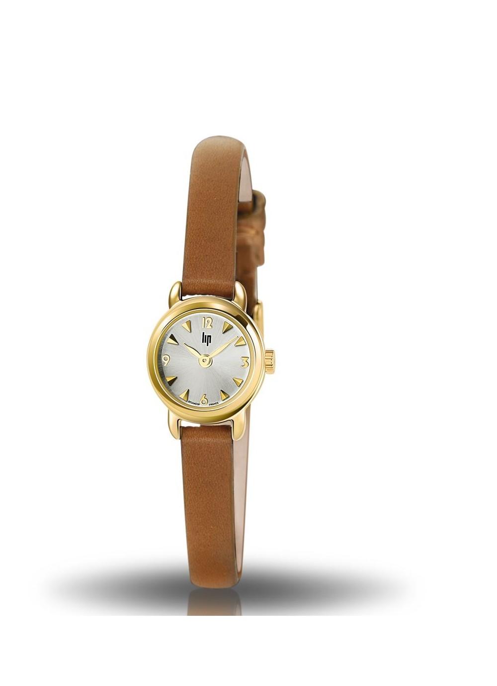 montre Lip, henriette, boitier rond acier doré, cadran gris, cuir camel, quartz, 6711896