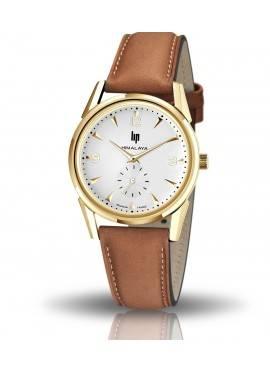 montre Lip, himalaya 35 mm, boitier rond doré, cardan gris clair, cuir marron lisse, quartz, 671641