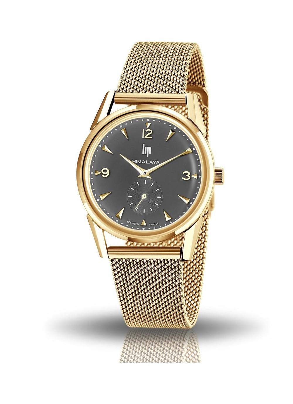montre Lip, Himalaya 35 mm, quartz, cadran anthracite, aiguilles dorées, bracelet milanais doré, 671650