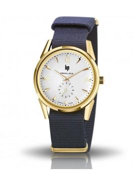 montre Lip, Himalaya 35 mm, boitier rond métal doré, cadran blanc, aiguilles dorées, nato nylon marine, 671649