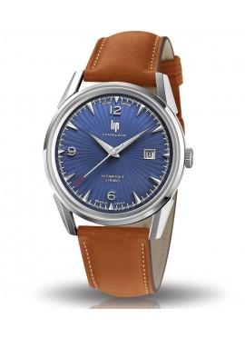 montre Lip, Himalaya, 671579, verre saphir, automatique, cuir marron, cadran bleu, date