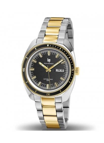 montre Lip, Marinier, 671358, bicolore, acier et doré, étanche 200 mètres, verre saphir, bracelet métal