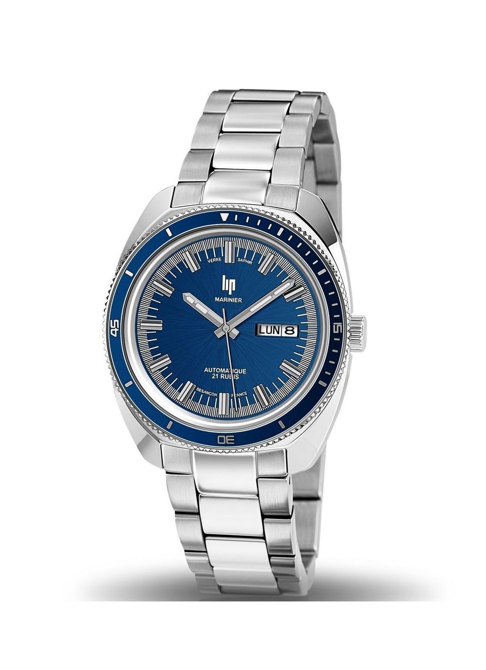 montre lip, marinier, cadran bleu, 671363, étanche 200 mètres, automatique, verre saphir, bracelet acier