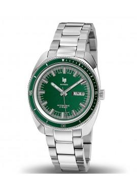 montre Lip, Marinier, 671370, lunette extérieure verte, cadran vert, étanche 200 mètres, verre saphir, date et semainier