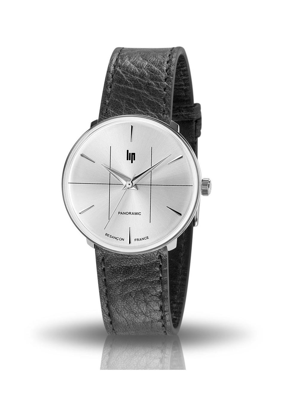 montre Lip, Panoramic, 671061, boitier rond acier gris, cadran gris, bracelet cuir noir