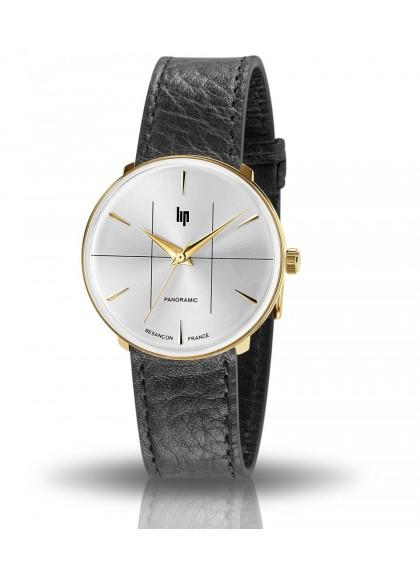 montre Lip Panoramic, boitier rond acier doré, bracelet cuir noir, cadran gris, 671074