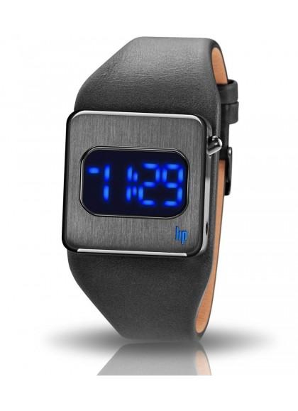 montre lip diode affichage bleu cuir noir boitier gris