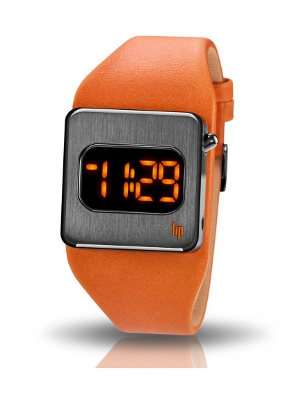 montre diode orange big tv cuir orange Lip
