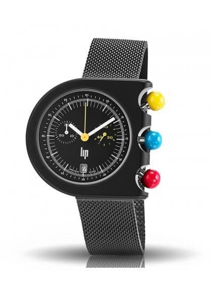 Mach 2000 chrono bracelet noir en mailles milanaises