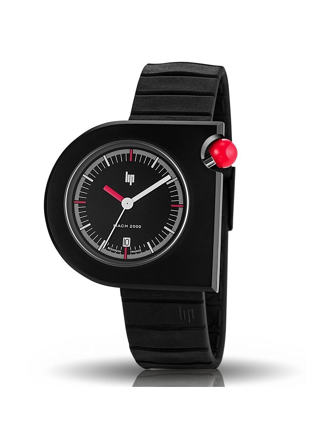 Mach 2000 bracelet caoutchouc noir et bouton poussoir rouge
