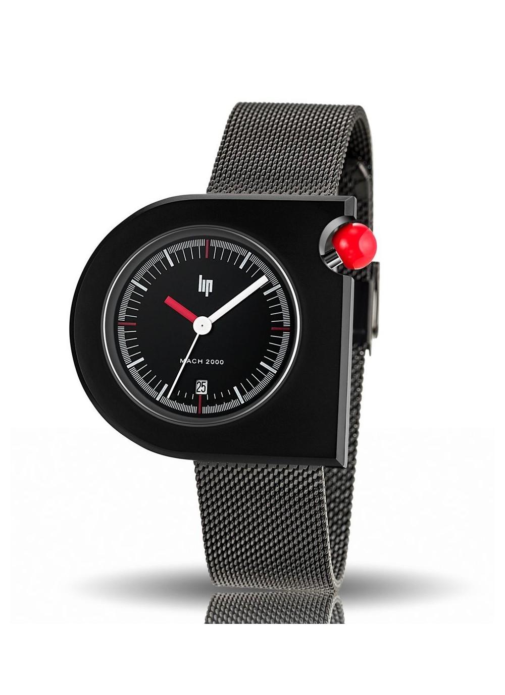 Mach 2000 mailles milanaises noir et bouton poussoir rouge