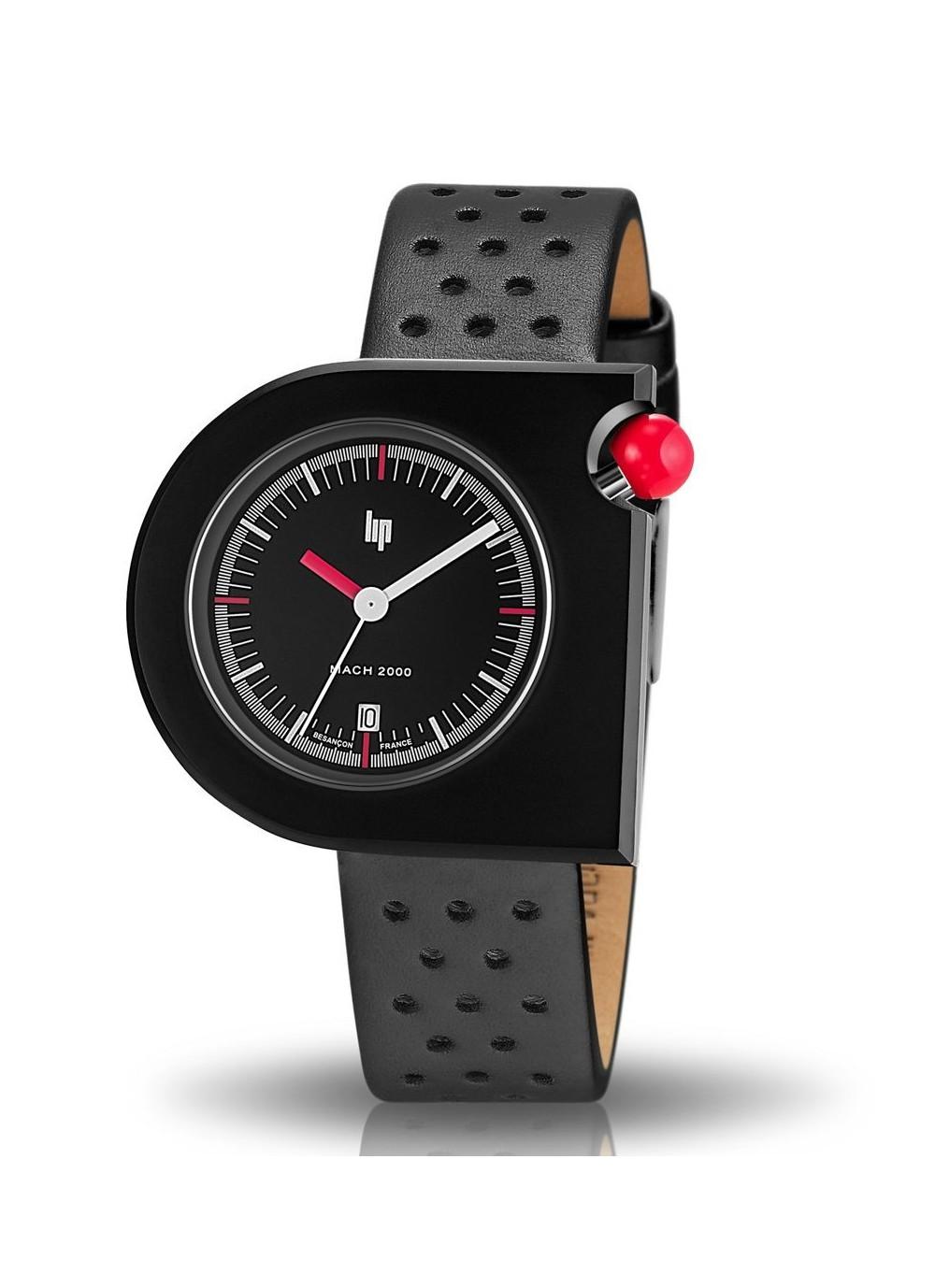 Mach 2000 bracelet cuir perforé et bouton rouge