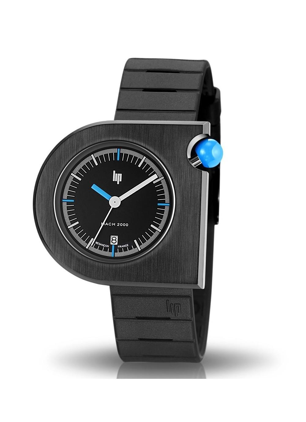 Mach 2000 bracelet caoutchouc noir et bouton bleu