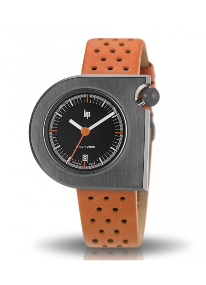 Mach 2000 bracelet orange perforé cadran noir
