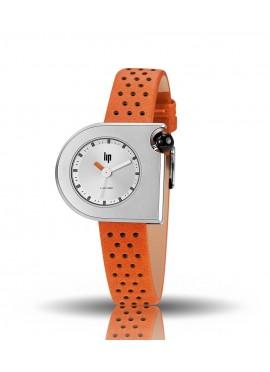 Mach 2000 mini bracelet cuir orange perforé, cadran gris